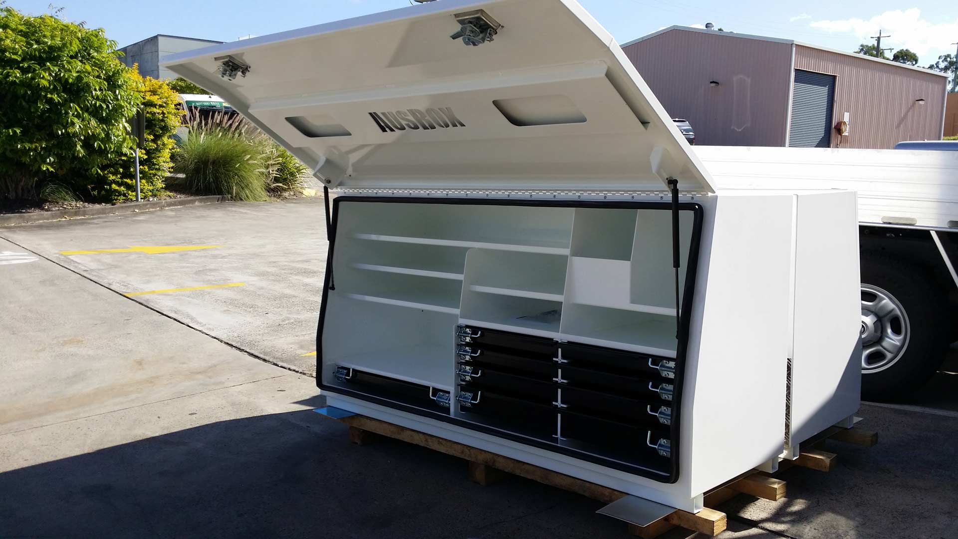 Powder coated toolbox for mining contractor